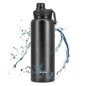 TOPOKO 宽口水瓶大容量不锈钢真空保温水瓶双壁设计 * 防漏和吸汗,适合热饮 40盎司双扭转盖-黑色