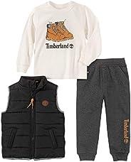 Timberland 添柏岚男孩3件套蓬松背心套装 黑色/灰色 5