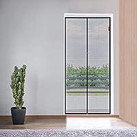 MUYAO 磁性屏门 35.5 x 82.6 加固玻璃纤维网眼窗帘露台门网带全框钩环适合门尺寸*大 35 x 82 英寸(约 88.9 x 203.2 厘米) - 灰色