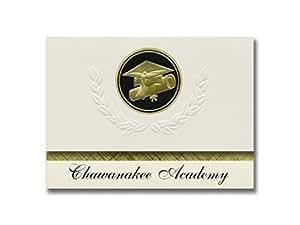 签名公告 Chawanakee Academy (O'neals, CA) 毕业公告,总统风格,优质包装 25 个帽子及证书印章。 黑色和金色。