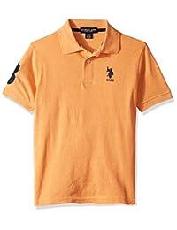 U.S. Polo Assn. 男童短袖泥灰色珠地布 Polo 衫