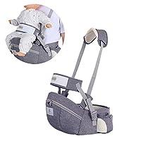 婴儿臀部座椅背带 婴儿腰凳 适用于儿童 婴儿 幼儿 带扣 口袋 柔软内衬 大容量收纳 深灰色