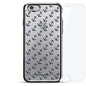 奢华镀铬系列 360 套装:设计师手机壳 + 钢化玻璃 适用于 iPhone 6/6s 银色LUX-I6CRM360-ANCHOR1 ANCHORS PATTERN 银色