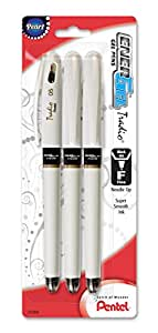 Pentel EnerGel Tradio Pearl Liquid Gel Pen, 0.5mm, Fine Line Capped, Needle Tip, Black Ink, 3 Pack (BLN115WBP3A)