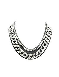 Shiny Jewelers USA 男式 Iced Out Hip Hop 银色方晶锆石迈阿密古巴链项圈项链 银色