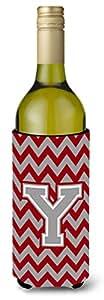 Caroline's Treasures CJ1043-YLITERK Letter Y Chevron Crimson and Grey Wine Bottle Koozie Hugger, 750ml, Multicolor