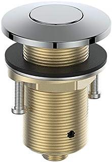 KANARY水槽顶部空气开关套件(全黄铜按钮)垃圾处理,带电源模块(铬)
