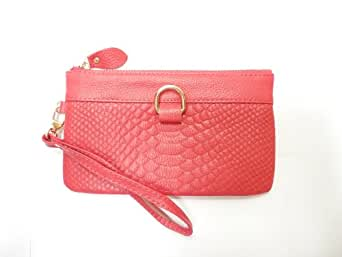 Dealstores123 - 真皮手机钱包/轻化妆钱包,3个卡槽 - 鳄鱼图案 - 玫瑰粉色