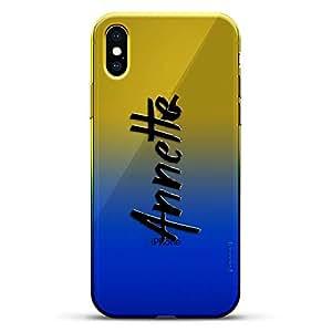 豪华设计师,3D 印花,时尚,高端,变色效果手机壳,适用于 iPhone Xs/X - 黄昏蓝小白色棒球图案LUX-IXCRM2B-NMANNETTE1 NAME: ANNETTE, HAND-WRITTEN STYLE 蓝色(Dusk)