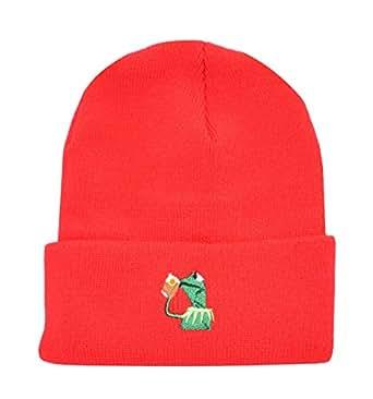 Marthasky 冬季 Kermit The Frog Sipping Tea 无檐小便帽 温暖舒适柔软 超大厚电缆 针织帽 中性针织帽 - 红色