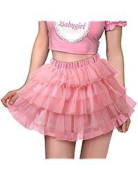 Littleforbig 女式网眼薄纱蓬松衬裙芭蕾舞短裙