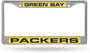 Rico NFL 绿湾包装工激光切割镶嵌标准车牌架,15.24 cm x 31.12 cm,铬