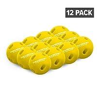 PowerNet Micro Crushers 限量飞行训练棒球 12 只装 黄色   Wiffle Style 击球练习球 适用于比赛前热的Ups 和击球练习   更好的*协调能力