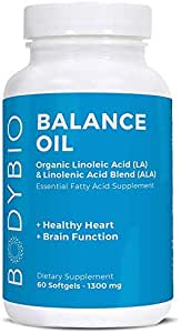 BodyBio 平衡油,必需*酸,*红花和亚麻籽油混合,4:1 LA 到 ALA,60 粒软胶囊
