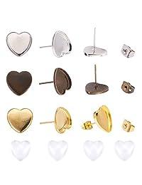 PH PandaHall 18 对 3 种颜色 DIY 耳环制作套件,18 对心形黄铜耳环挡板托盘 18 对透明玻璃凸圆宝石 18 对耳环*背用于珠宝工艺制作