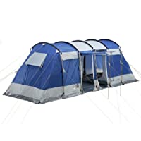 skandika Montana 6-person Family or Group Tunnel Tent with Sun Canopy Porch - Insect protection mesh & water resistant material with 5000 mm water column