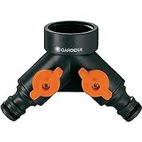 Gardena Distribuidor 多臂 Para grifos 20/27 y 26/34。 2 salidas ajustables con válvula de cierre en cada salida。