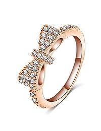 Benmani 可爱蝴蝶结 CZ 18k 镀金永恒戒指 - 美观 - 时尚优雅小巧爱情戒指珠宝适合周年纪念、订婚、婚礼承诺 玫瑰金