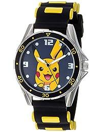 Pokemon 男孩模擬石英手表,橡膠表帶,黑色,13(型號:POK9056AZ)