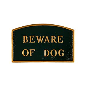 Montague Metal Products Beware of Dog 拱形墙板 标准 绿色 SP-4S-HGG