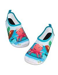 儿童水上游泳鞋赤脚水袜鞋快干防滑婴儿男孩和女孩 Red Octopus/Beach 12.5-13 Little Kid