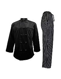 男士厨师制服套装 - 厨师外套和裤子