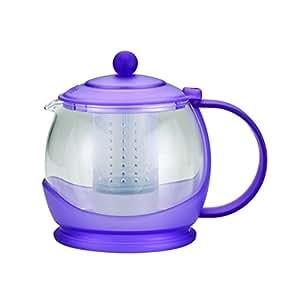 BonJour Tea Prosperity Borosilicate 玻璃茶壶,带塑料框 法国薰衣草 42 oz 46024