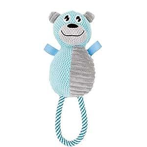 Pet Life 毛绒玩具 自然黄麻和吱吱吱声 咀嚼狗狗玩具 蓝色/灰色 均码