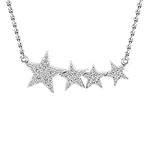 0.35 Carat (ctw) 10K White Gold Round Diamond Ladies Shooting Star Pendant (Silver Chain Included) 1/3 CT