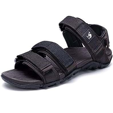 Camel 男式沙滩凉鞋,透气网眼运动鞋,休闲户外拖鞋,带可调带 Black/Khaki 8 M US