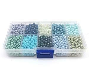 PEPPERLONELY 品牌 1 盒混合彩色染色珍珠圆形玻璃珍珠珠 1# 43216-27268