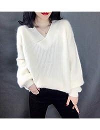 唐岚 针织衫长袖V领羊绒衫女套头宽松慵懒风毛衣厚打底衫纯色