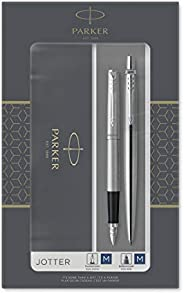 Parker IM Duo 礼品套装,带圆珠笔和钢笔 Jotter Ballpoint/Fountain 不锈钢镀铬装饰