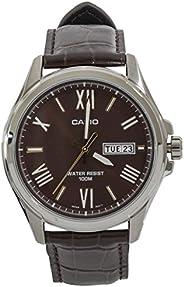 Casio 卡西欧 #MTP1377L-5AV 男式标准皮革表带 100M 日间日期棕色表盘手表