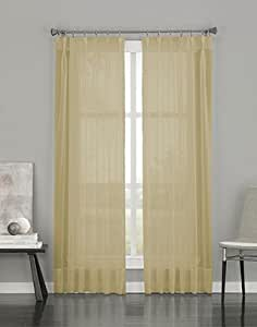 """Curtainworks Soho Voile Sheer Pinch Pleat Curtain Panel, 29 by 108"""", Silver"""