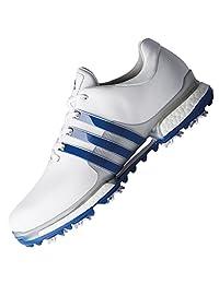 adidas 男士 Tour 360 Boost 2.0 高尔夫球鞋,白色