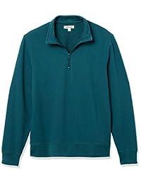 GoodThreads男士标准轻质法兰绒半拉链套头运动衫