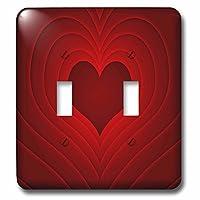3dRose (lsp_213765_2) 红色心脏带红色心形设计双拨动开关