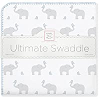 SwaddleDesigns 小象和小鸡图案终极婴儿毯 Morning Sky 均码
