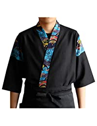 男式女式拼接寿司厨师夹克日式厨房制服寿司工作服印花和服开衫