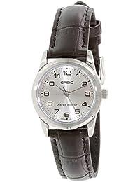 Casio Casio 女士 LTPV001L-7B 黑色皮革石英手表