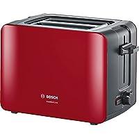 Bosch 博世 TAT6A114 小巧烤吐司机 Comfortline,自动调整面包中心,加热小面包功能,1090 W,红色 / 深灰色