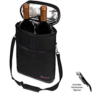 OPUX 高级保温*袋,优雅*红色手提袋,额外保护,便利,耐用*瓶袋,含有 Corkscrew 黑色 2 Bottle