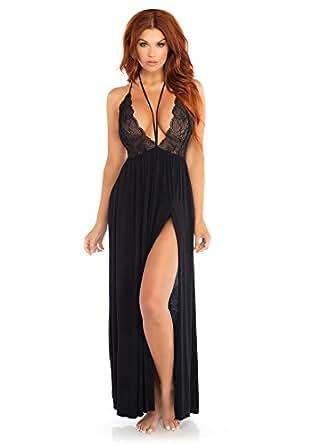 Leg Avenue 女式拉绒针织蕾丝礼服吊带背带性感睡衣睡衣  黑色 Small