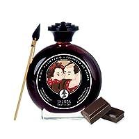 SHUNGA 春画 人体彩绘巧克力味涂料 (棕色) 100ml 配专用画笔 可舔食 用于男女全身及私处绘画不染色易清洗 (加拿大进口)