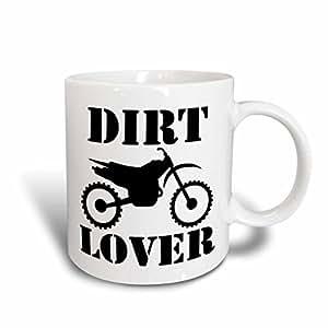 3dRose Mark Grace FREEDOM - 越野运动 - 黑色灰尘摩托车图形图像和灰尘印文字在白色背景上 - 马克杯 多色 15盎司