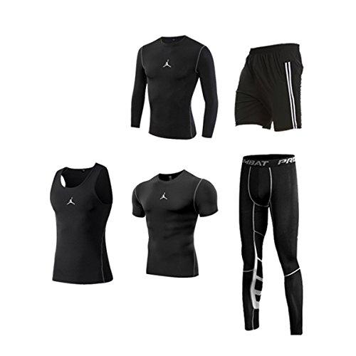 健身房健身速干衣裤 男士运动跑步紧身衣健身服五件套长袖+短袖+背心+短裤+九分裤