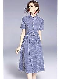2018夏季新款女装通勤OL气质衬衫裙中长款POLO领短袖条纹连衣裙