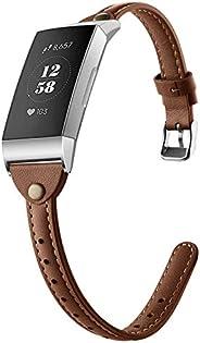 GHIJKL 兼容 Fitbit Charge 3 指環,超薄真皮替換腕帶,經典鉚釘腕帶,運動腕帶配件,適用于 Fitbit Charge 3,女士男士