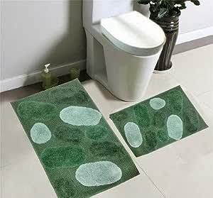 2 件套矩形浴室地毯套装,几何科宝石设计浴室地毯防滑,可机洗,大垫 50.8 厘米 x 81.28 厘米 小垫 43.18 厘米 x 60.96 厘米 浴室亚麻装饰 *